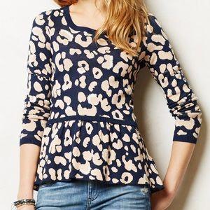 Anthropologie Moth peplum sweater leopard print